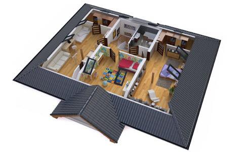 Wizualizacja piętra wnętrza projektu domu BW-52 z zaplanowanymi dwiema garderobami. Źródło: Extradom.pl.